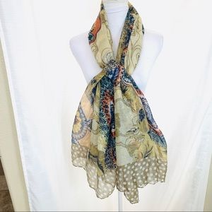 Large Scarf Wrap Shawl in Warm Tans and Navy